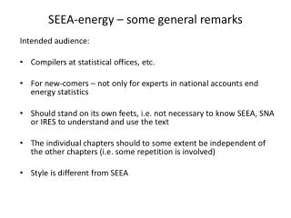 SEEA - energy  –  some  general remarks