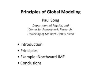 Principles of Global Modeling
