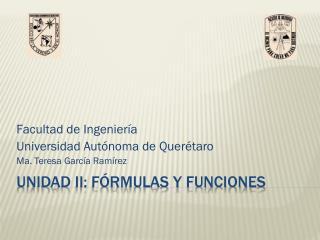 Unidad II: Fórmulas y funciones