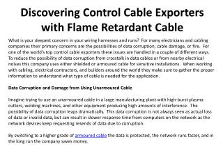 Discovering Control Cable Exporters with Flame Retardant Cab