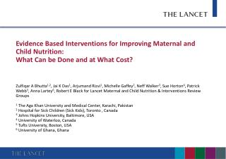 Evidence Based Interventions for Improving Maternal and Child Nutrition: