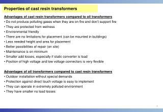 Properties of cast resin transformers