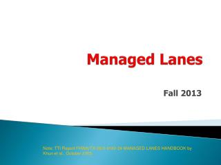 Managed Lanes