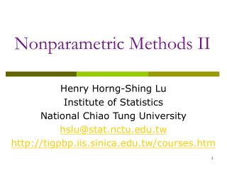 Nonparametric Methods II