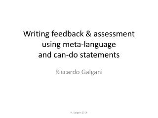 Writing feedback & assessment  using meta-language  and can-do statements
