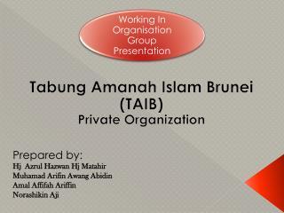 Tabung Amanah  Islam Brunei (TAIB) Private Organization