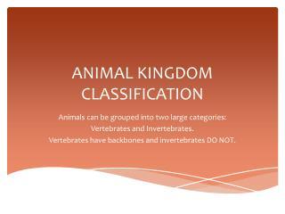 ANIMAL KINGDOM CLASSIFICATION