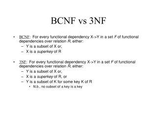 BCNF vs 3NF