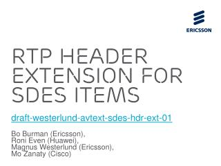 RTP Header Extension For SDES ITEMs