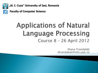 Applications of Natural Language Processing