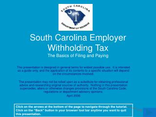 South Carolina Employer Withholding Tax