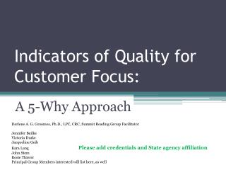 Indicators of Quality for Customer Focus :