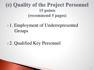 (e) Quality of the Project Personnel 15 points (recommend 5 pages)