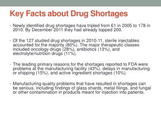 Key Facts about Drug Shortages