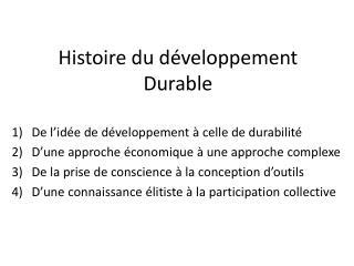 Histoire du d�veloppement Durable
