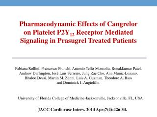 Pharmacodynamic Effects of  Cangrelor