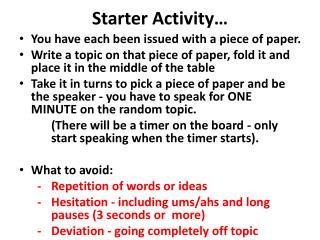 Starter Activity…