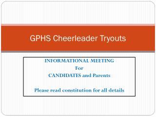 GPHS Cheerleader Tryouts