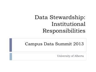 Campus Data Summit 2013