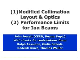 (1)Modified Collimation Layout & Optics (2) Performance Limits for Ion Beams