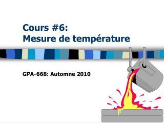 Cours #6: Mesure de température