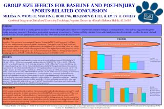 Group Size Effects for Baseline and Post-Injury  Sports-Related Concussion