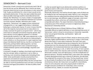 DEMOCRACY – Bernard Crick