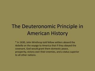 The  Deuteronomic  Principle in American History