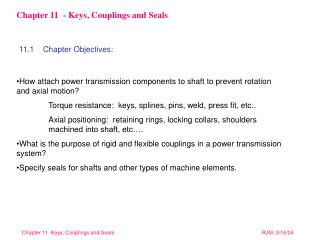 Chapter 11  - Keys, Couplings and Seals