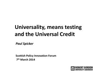 Universality, means testing and the Universal Credit