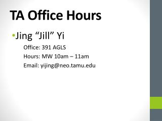 TA Office Hours