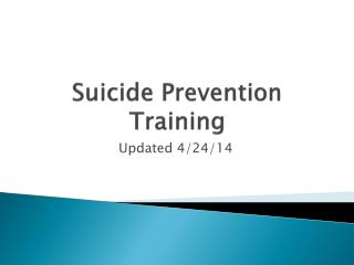 Suicide Prevention Training