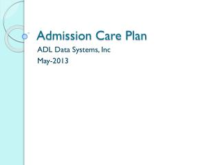 Admission Care Plan