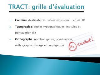 TRACT: grille d'évaluation