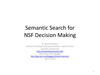 Semantic Search for NSF Decision Making