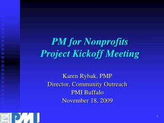PM  for  Nonprofits   Project Kickoff Meeting