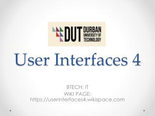 User Interfaces 4
