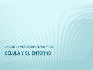 CÉLULA Y SU ENTORNO