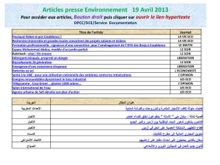 Presse Environnement 19 Avril 2013