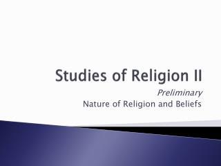 Studies of Religion II
