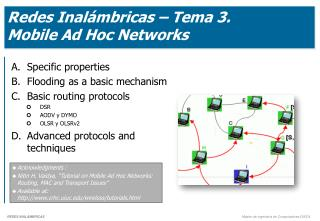 Redes Inalámbricas – Tema 3.  Mobile Ad Hoc Networks