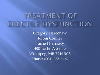 Treatment of Erectile Dysfunction