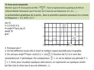 tau=2; f=-2.5:0.01:2.5; P=sin(pi*f*tau)./pi./f; plot(f, P) grid 1. Pourquoi pas  ?