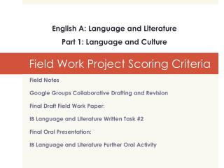 Field Work Project Scoring Criteria