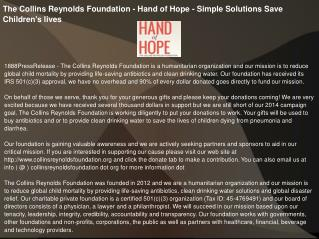 The Collins Reynolds Foundation - Hand of Hope