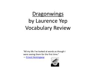 Dragonwings by Laurence Yep Vocabulary Review