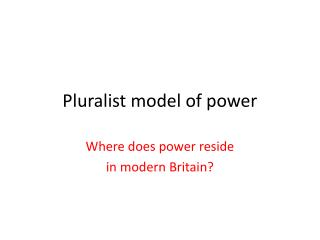 Pluralist model of power