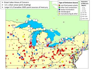 Great Lakes Areas of Concern  U.S. urban areas (pink shading)