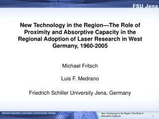 The Spatial Diffusion of a Knowledge Base: Laser Technology Research in  West Germany, 1960-2005