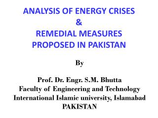 ANALYSIS OF ENERGY  CRISES  & REMEDIAL MEASURES PROPOSED IN PAKISTAN